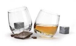Club Whiskeyglas med drinkstenar, 2-pack